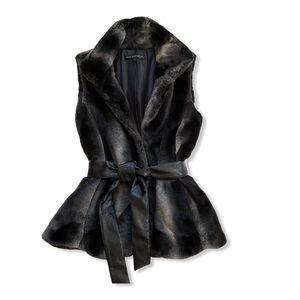 Via Spiga Faux Fur Leather Belted Vest - Size M